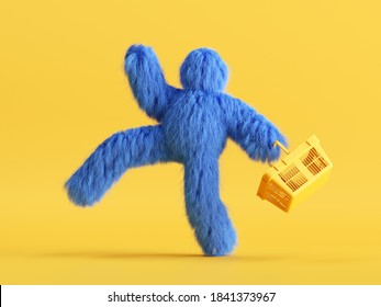 3d render, funny Yeti cartoon character goes shopping, with shopping cart, hairy blue monster toy. Sale concept. Commercial clip art isolated on yellow background