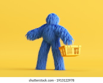 3d render, funny Yeti cartoon character goes shopping, with empty shopping cart, hairy blue monster toy. Sale concept. Commercial clip art isolated on yellow background