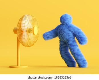 3d render, funny Yeti cartoon character stands opposite the fan and resists the wind. Resistance concept. Funny toy, hairy blue monster clip art isolated on yellow background