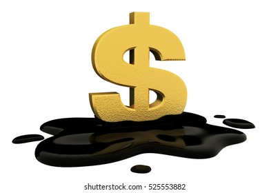 3d render, fused dollar sign and oil.