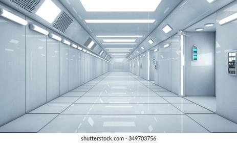 3d render futuristic corridor interior