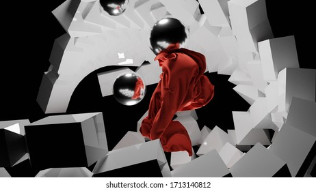 3D render futuristic geometric pattern