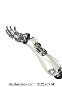 3d render of futuristic robot arm and hand gesture with clipping mask