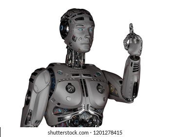 3D Render Futuristic Robot man pointing his fingher upwards on white background