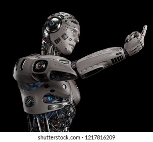 3D Render of futuristic robot man showing ''fuck you'' gesture. Isolated on black background.