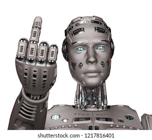 3D Render of futuristic robot man showing ''fuck you'' gesture. Isolated on white background.