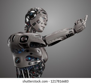 3D Render of futuristic robot man showing ''fuck you'' gesture. Isolated on gray background.