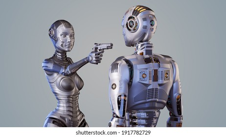 3d render of futuristic robot woman or cybernetic girl threatening or pointing a gun against robot man. Upper bodies isolated on color background