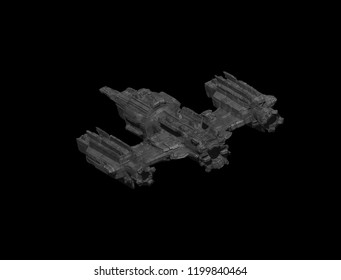 3D render of an futuristic spaceship. Original design Sci-Fi fantasy spacecraft on a background.