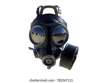 3D render - gas mask reflection