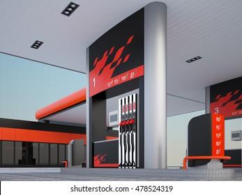 3d render  gas refuel station