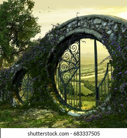 3D render of a gate wall to a beautiful enchanted garden like landscape at dawn