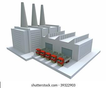 3D render of a generic factory