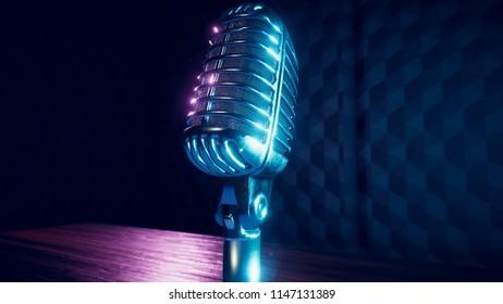 3D Render of generic vintage microphones