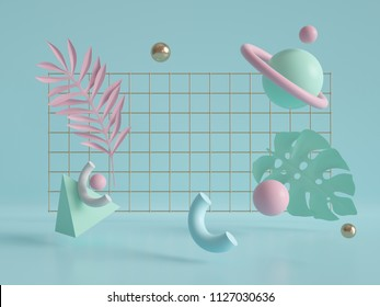 3d render, geometric background, flying objects, grid, copy space, pyramid, cube, ball, torus, primitive shapes, chaos, mint pink pastel colors