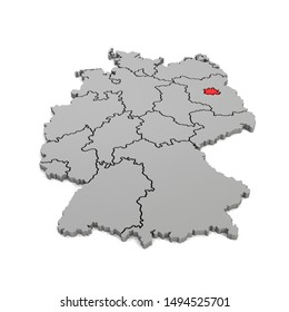 3d render - german map in gray with regional boarders and the focus to Berlin in red - federal states