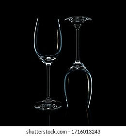 3D render of a glass on a black background. Studio lighting.
