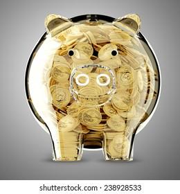 3d render of glass piggy bank full