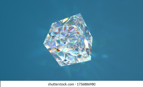 3d render of glass shape with realistic caustics on blue background.  Light refraction effect.