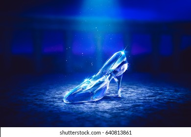 3D Render of a glass slipper on the castle floor