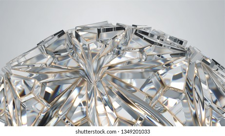 3d render of glass structure. Diamond like reflections and refractions. Beauty precious glass.