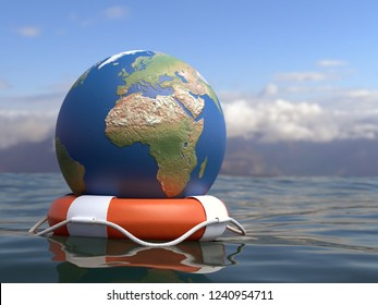 3D render of Globe on orange life buoy floating on sea surface as Global Warming awareness concept
