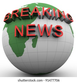 3d render of globe and text 'breaking news'