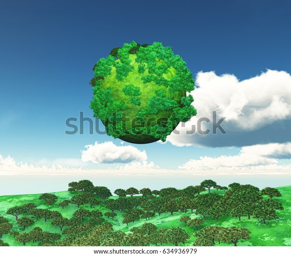 3D render of a globe of trees over a grassy landscape