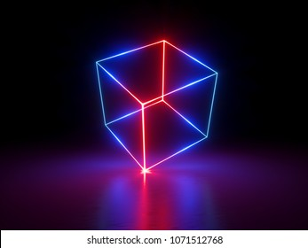 3d render, glowing lines, neon lights, abstract background, virtual reality, cube cage, ultraviolet, infrared, spectrum vibrant colors, laser show
