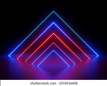 3d render, glowing lines, neon lights, abstract background, virtual reality, square corner, arch, ultraviolet, infrared, spectrum vibrant colors, laser show