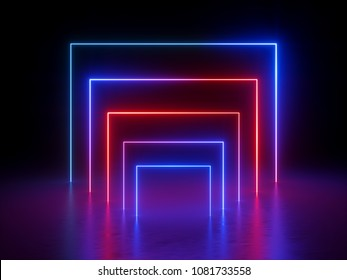 3d render, glowing lines, neon lights, abstract background, virtual reality, square portal, arch, ultraviolet, infrared, vibrant colors, red blue spectrum, laser show