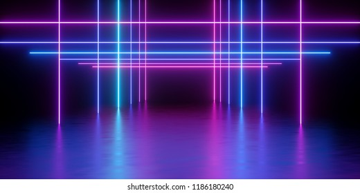 3d render, glowing lines, neon lights, abstract psychedelic background, network, cage, ultraviolet spectrum, vibrant colors, laser show
