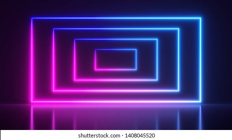 3d render, glowing lines, tunnel, neon lights, virtual reality, abstract background, square portal, arch, pink blue spectrum vibrant colors, laser show.