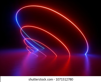 3d render, glowing rings, round lines, oval, neon lights, virtual reality, abstract background, circles, red blue spectrum, vibrant colors, laser show
