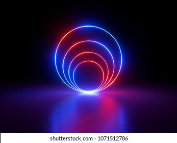 3d render, glowing rings, round lines, tunnel, neon lights, virtual reality, abstract background, circles, red blue spectrum, vibrant colors, laser show