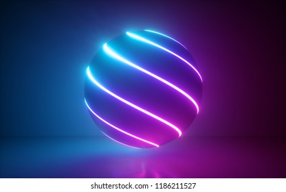 3d render, glowing sphere, ultraviolet neon light, pink blue disco ball, bubble, balloon, abstract minimal background, network connections, laser show