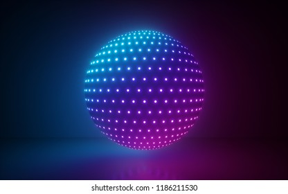 3d render, glowing sphere, ultraviolet neon light, pink blue disco ball, abstract minimal background, network connections, laser show