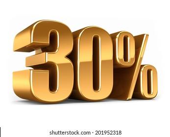 3d render of a Gold 30 percent