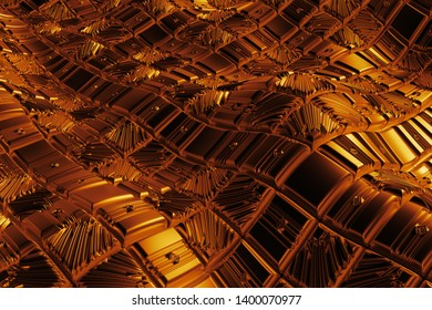 3d render gold background with reflections. Displacement surface. Random patterns extruded from the wavy shape.