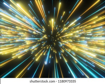 3d render, gold blue new year fireworks, abstract cosmic background, big bang, galaxy, falling stars, celestial, beauty of universe, speed of light, neon glow, cosmos, starlight, outer space