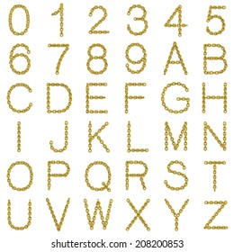 3d render of gold chain alphabet and numbers