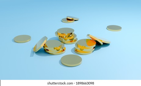 3D render of gold coins