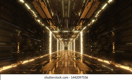 3d render gold Digital futuristic neon tunnel