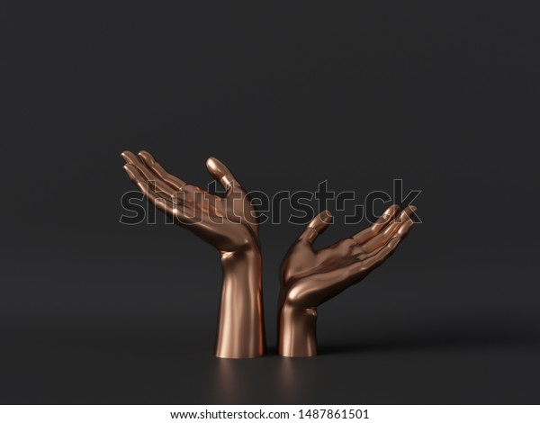 3d render, gold female mannequin hands isolated on black background, body parts, fashion concept, religious prayer, sacred ritual, holding gesture, clean minimal design, blank space