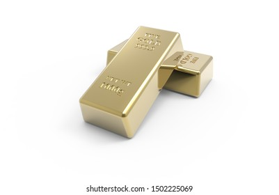 3d render gold ingots stock photo