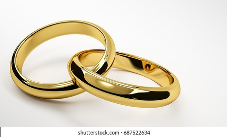 3d render of gold interlaced wedding rings