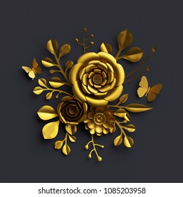 3d render, gold paper flowers, rose, floral bouquet isolated on black background, botanical decor, artificial nature elements, handmade quilling craft, decorative clip art, sorrowful composition