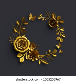 3d render, gold paper flowers, dramatic floral arrangement, wreath isolated on black background, round frame, dahlia, rose, botanical decor, artificial nature elements, diy quilling craft, clip art