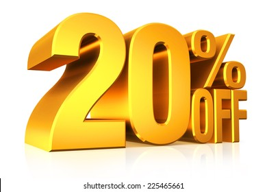 3D render gold text 20 percent off on white background with reflection.