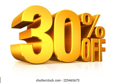 3D render gold text 30 percent off on white background with reflection.